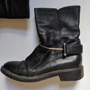 Balenciaga | Black Ankle Botos with Gold Hardware